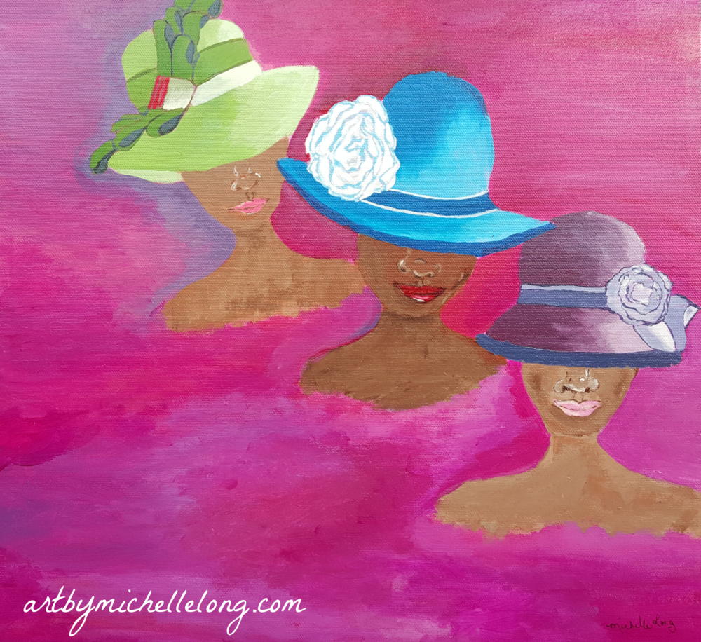 """""""Ladies Who Wear Hats"""" 16 x 20 inch acrylic on canvas $125.00"""