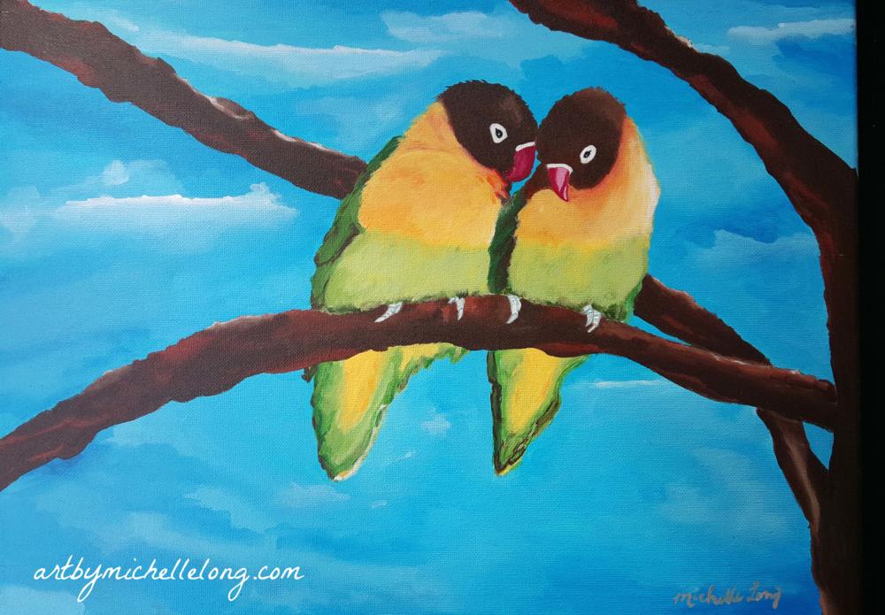 """""""Love Birds"""" 16 x 20 inch acrylic on canvas $125.00"""
