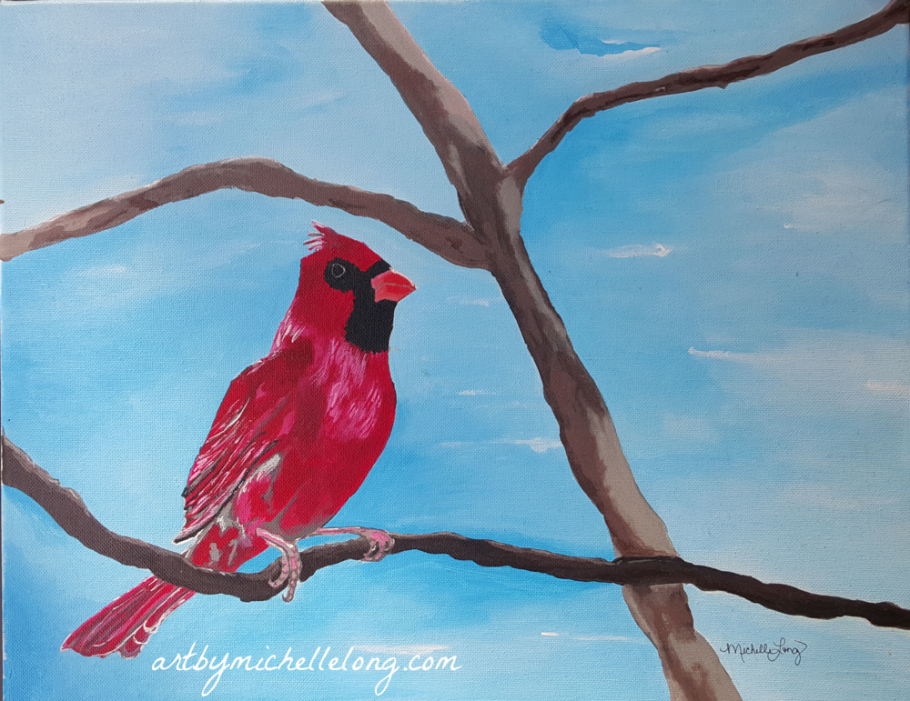 A Red Cardinal at Peace 16 x 20 inch acrylic on canvas $125.00