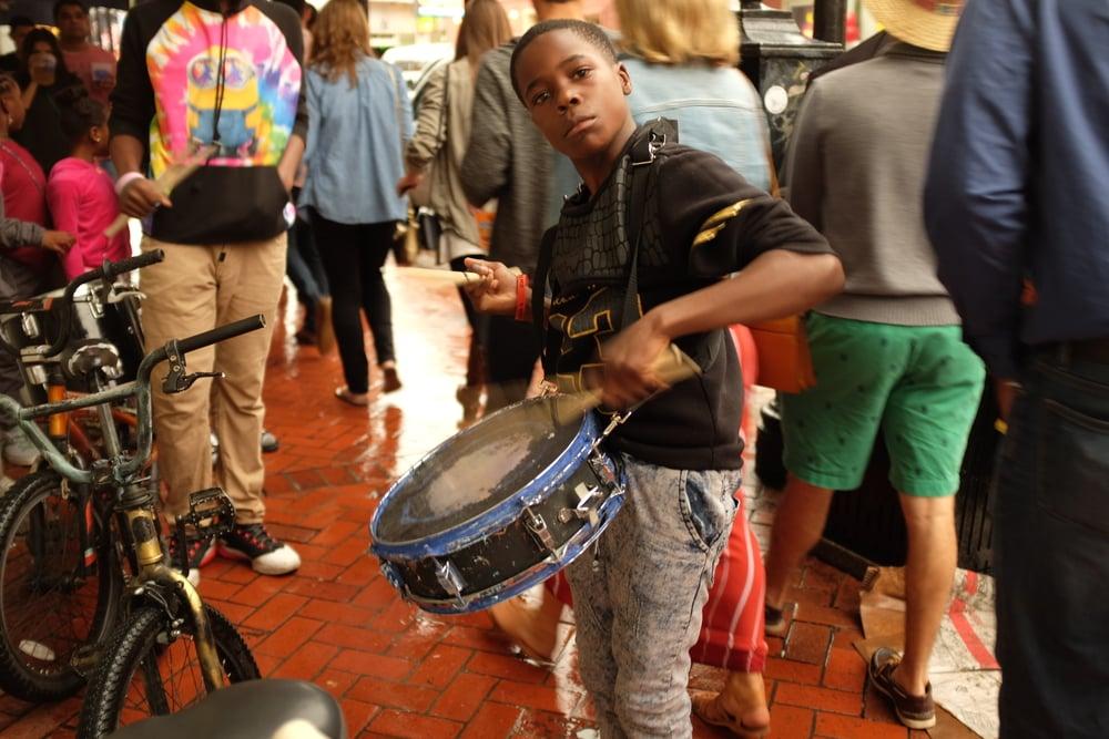 Street performer, Bourbon Street, French Quarter.November 21, 2015.