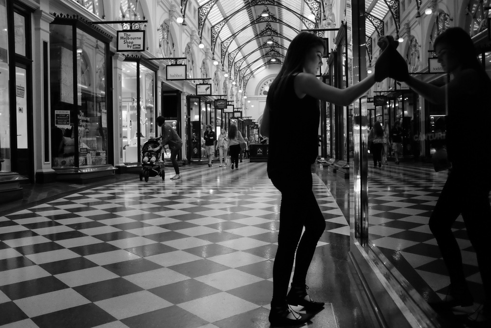 Elise in the Royal Arcade, Melbourne.