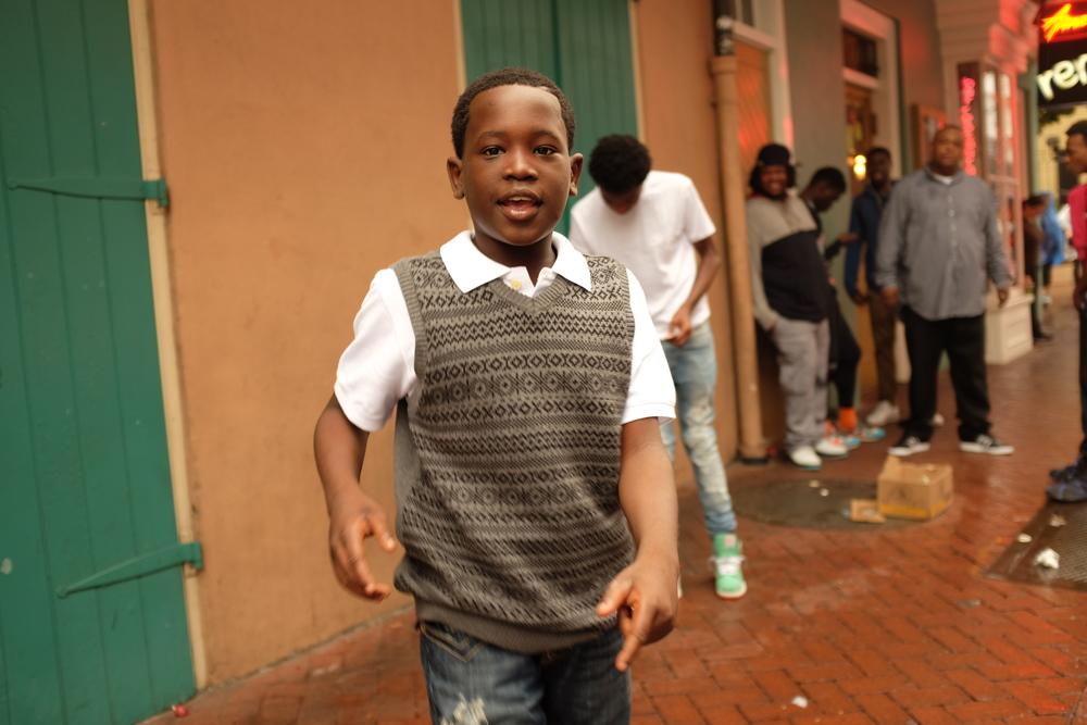 Derek, street performer, Bourbon Street, New Orleans.