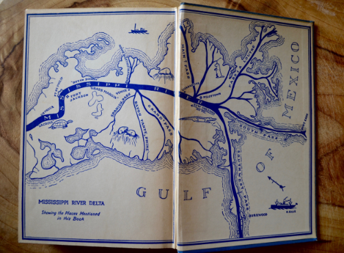 Endpapers from the 1936 edition of O'Donnell's first novel,  Green Margins , depicting lower Plaquemines Parish.