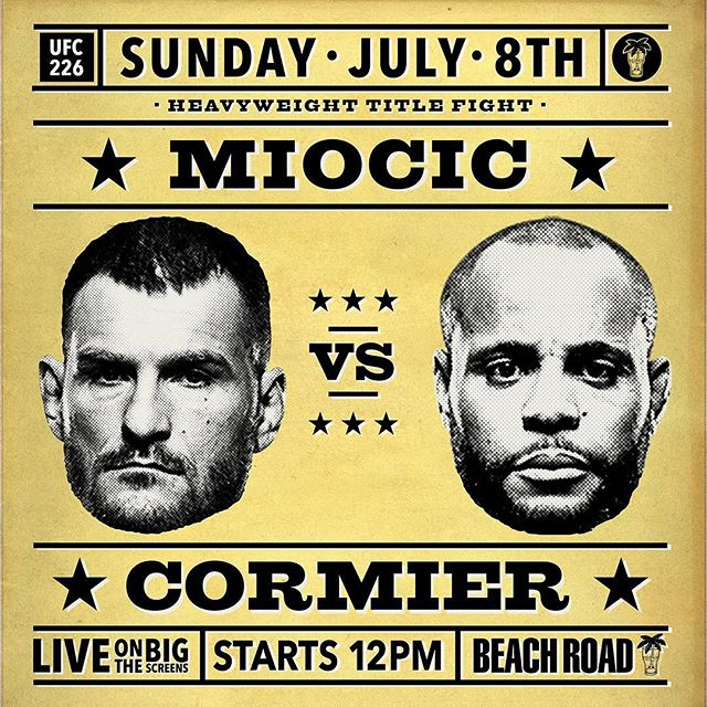 The Miocic v Cormier fight will be kicking off LIVE & LOUD today from midday. #ufc #beachroadhotel #sundaysports #sports #bondi