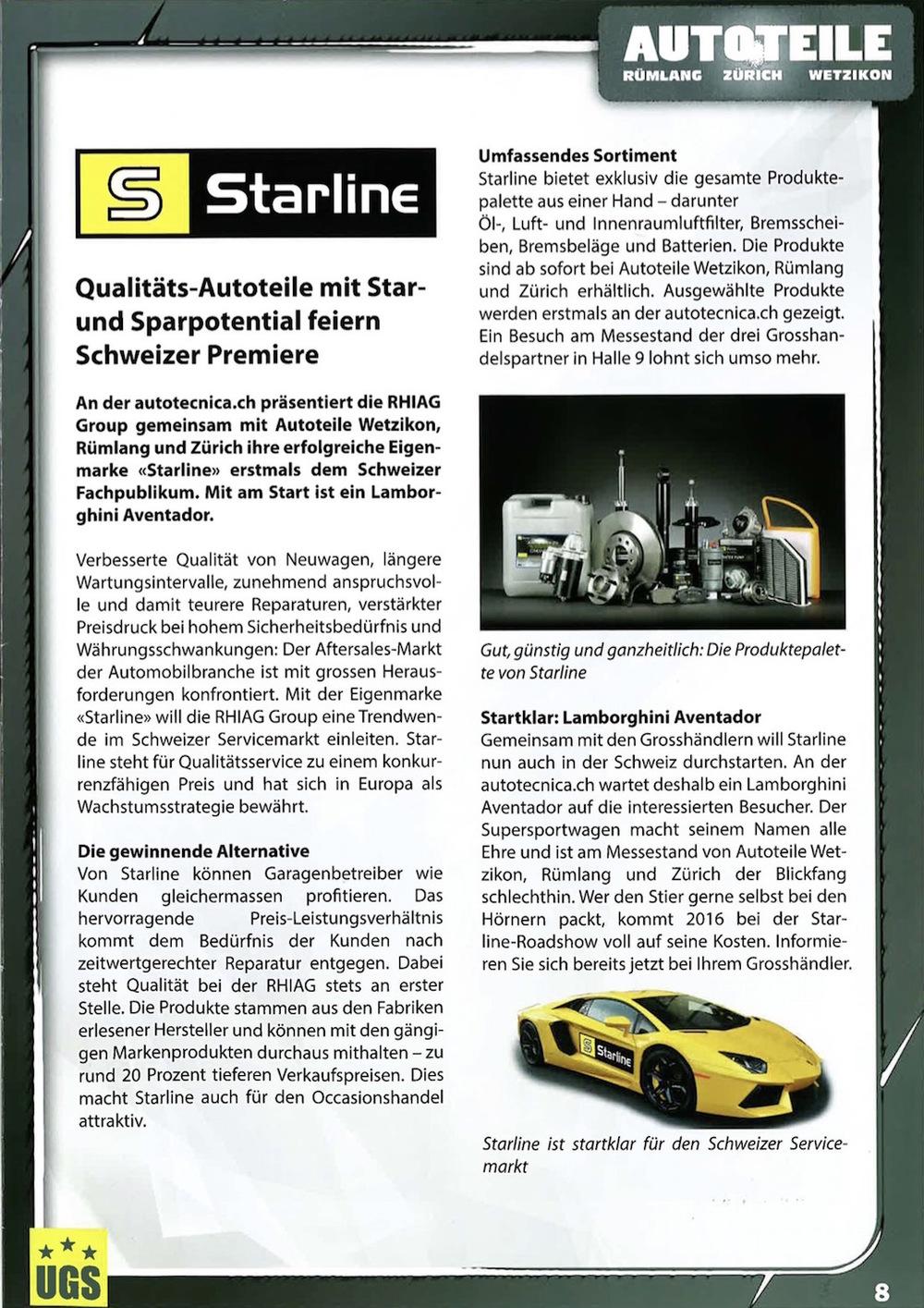 Starline im UGS Standmagazin, 28. Oktober 2015