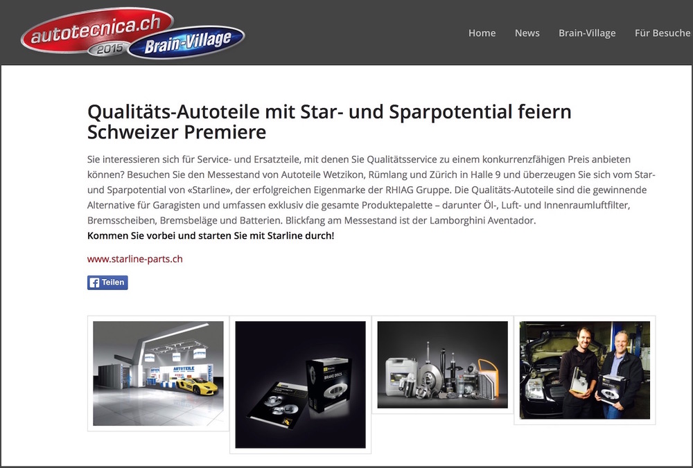 Starline in den autototechnica News, 13. Oktober 2015