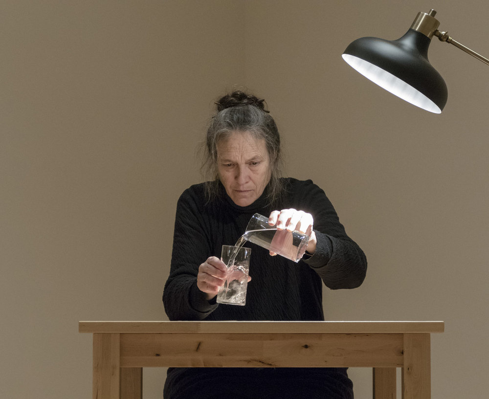 Marilyn Arsem,  100 Ways to Consider Time    (2015). Day 28: December 7, 2015. Museum of Fine Arts, Boston. Jeanne and Stokley Towles Gallery. Photograph © Museum of Fine Arts, Boston