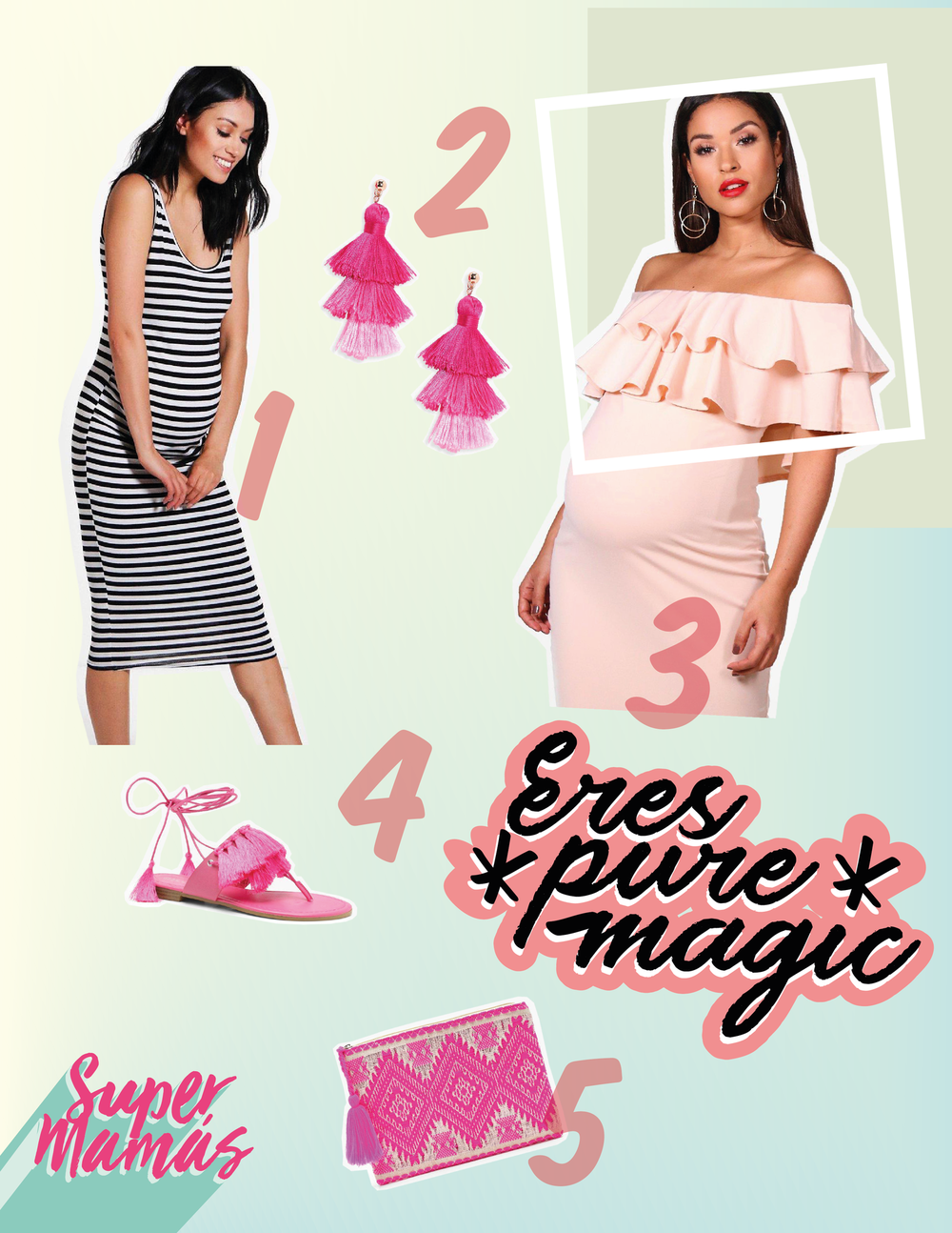 1.  Maternity Ellie Stripe Strappy Midi Bodycon Dress  2.  Millie Tiered Tassel Earrings  3.  Maternity Lauren Ruffle Off The Shoulder Midi Dress  4.  Anna Fringe Trim Wrap Sandals  5.  Lucy Sparkle Aztec Clutch