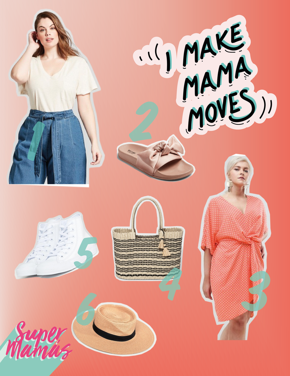 1.  Women's Plus Size Monterey Pocket V-Neck Short Sleeve T-Shirt  &  Women's Plus Size Tie Front Wide Leg Jeans  2.  Women's Julisa Slide Sandals with a Bow - Mossimo Supply Co.™  3.  Missguided Plus Twist Front Polka Dot Dress  4.  Cut Out Straw Tote Handbag - A New Day™  5.  Converse White Leather High Top Sneakers  6.  Warehouse Straw Sun Hat