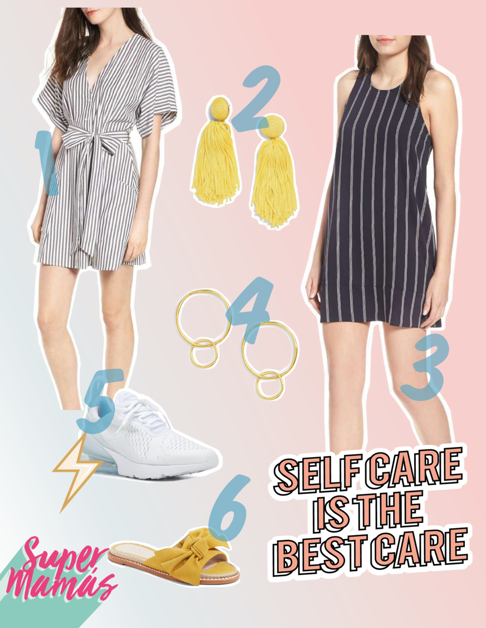 1.  BP. Button Front Dress  2.  BAUBLEBAR Sonatina Tassel Earrings  3.  LEITH Racerback Shift Dress  4.  Quinn Linked Earrings  5.  Nike Air Max 270   6.  CASLON Darcie Slide Sandal
