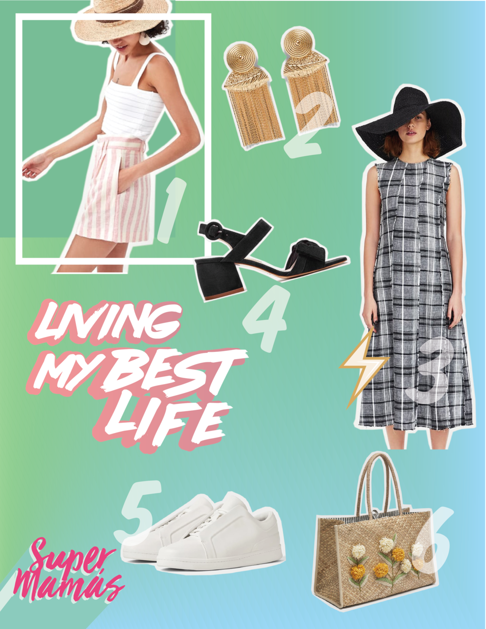 1.  STRIPED BERMUDA SHORTS /  SHIMMERY TOP WITH SCALLOPED TRIMS  /  2.  EARRINGS WITH CHAIN FRINGING  3.  CHECK LINEN DRESS  4.  HIGH HEEL LEATHER SANDALS WITH RIBBON  5.  WHITE SNEAKERS  6.  FLORAL TOTE BAG