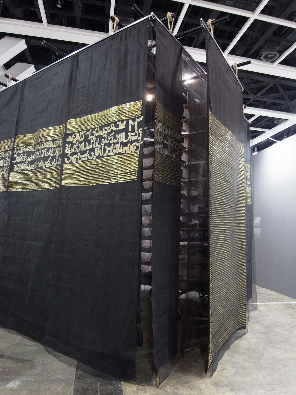 78, 2014, Steel Scaffolding, Bamboo, Fabric, Embroidery, Courtesy of the Artist. 350 x 350 x 350 cm