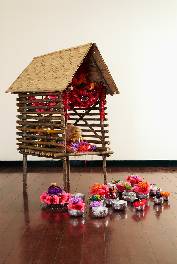 Karma Cash & Carry, 2010, Bamboo, Eucalyptus, Found Objects, 150 x 120 x100 cm, Courtesy of Tyler Rollins Fine Art