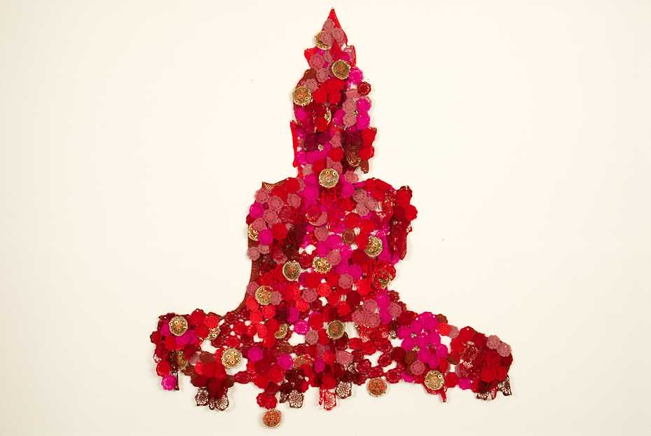 Red Buddha, 2010, Crochet, Bumperstickers, Threads, 215 x 215 cm, Courtesy of Tyler Rollins Fine Art