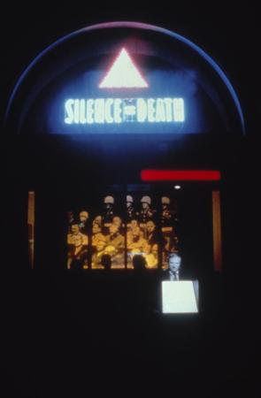 1987 Designer: Silence=Death Project Photography: Fred Scruton at 583 Broadway (The Astor Building), THE NEW YORK PUBLIC LIBRARY DIGITAL COLLECTIONS.
