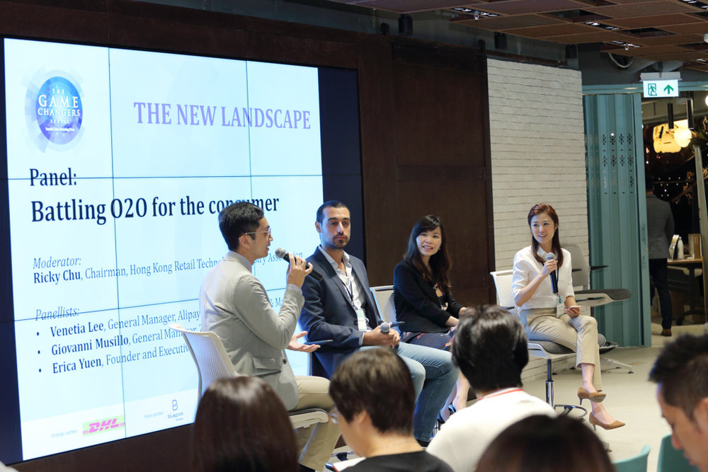 "(From left) Ricky Chu, Chairman, Hong Kong Retail Technology Industry Association; Giovanni Musillo, General Manager, ZALORA Hong Kong; Venetia Lee, General Manager, Alipay Hong Kong, Taiwan & Macau; and Erica Yuen, Founder and Executive Director, Mi Ming Mart sharing insights on ""Battling O2O for the consumer"""