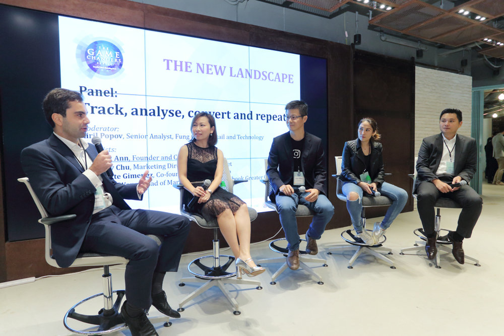 "(From left) Kiril Popov, Senior Analyst, Fung Global Retail and Technology; Terry Chu, Marketing Director, Strawberrynet; Bryan Wang, Head of Marketing Science, Facebook Greater China Region; Juliette Gimenez, Co-founder and CEO, Goxip; and Andy Ann, Founder and CEO, NDN Group, sharing their thoughts on customer analytics in the panel discussion ""Track, analyse, convert and repeat""."