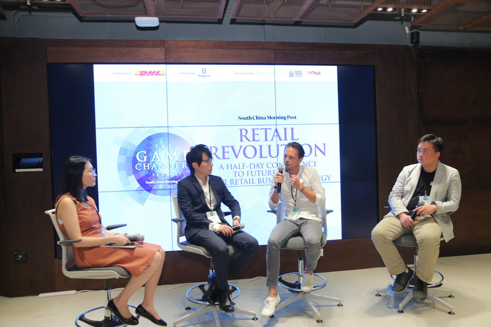 "(From left) Esme Pau, Head of Asia Research, Fung Global Retail Technology; Leslie Fok, Marketing Director, LAWSGROUP; Benoit Clement-Bollee, CEO, Asia, Storefront; and Clarence Ling, Co-Founder and Chief Development Officer, Ztore.com speaking on ""Would you survive in the new millennial economy?"""