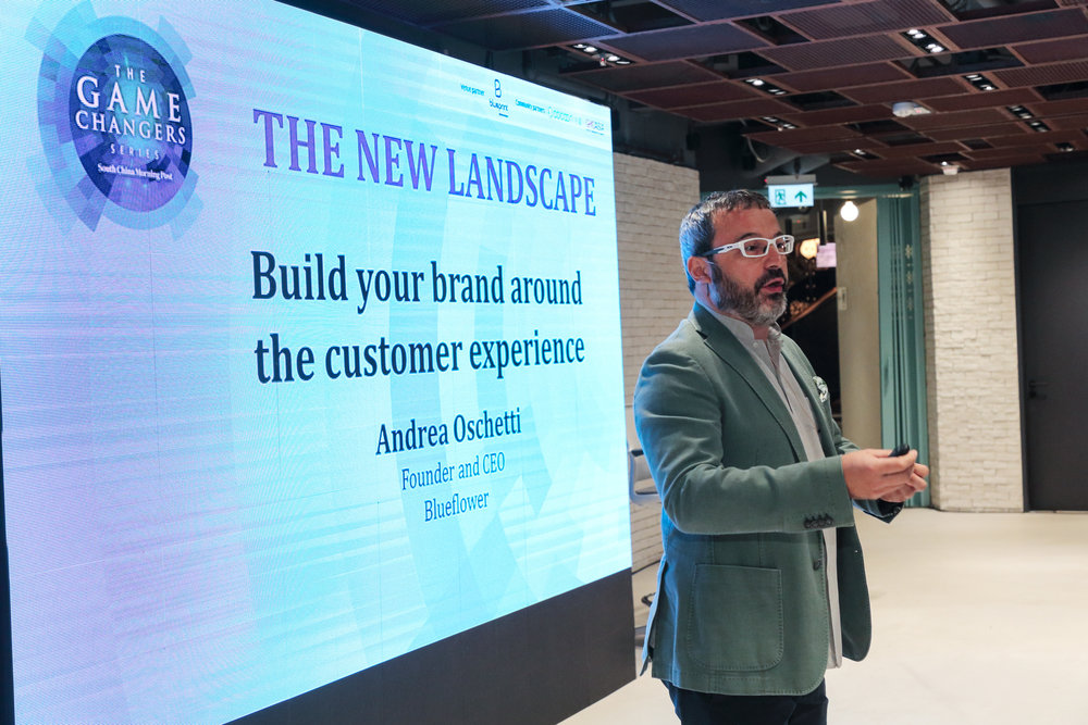 "Andrea Oschetti, Founder and CEO, Blueflower, speaking on ""Build your brand around the customer experience""."