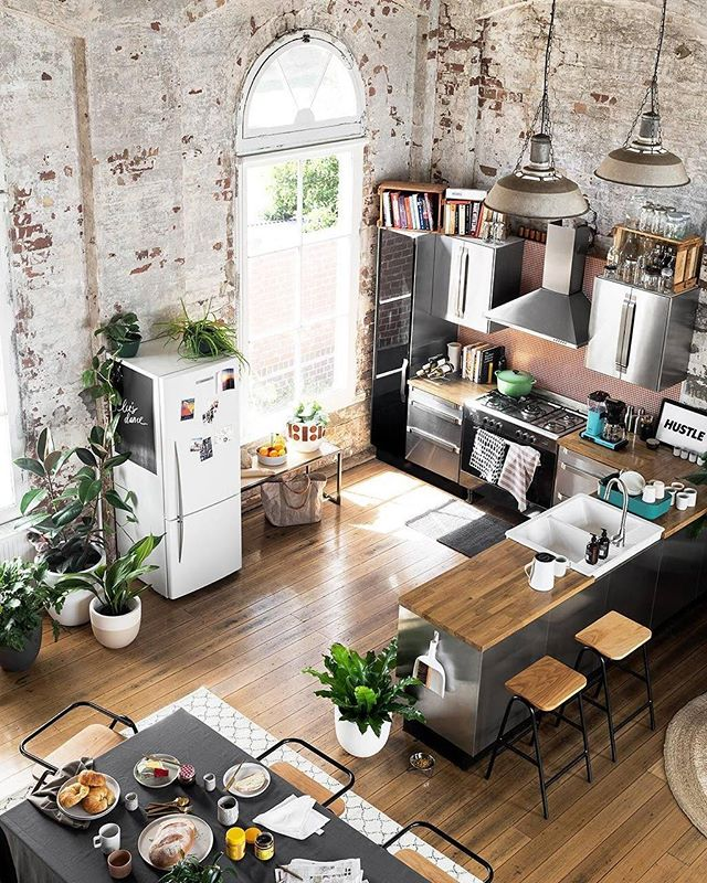 INSPO: Industrial Bohemian spaces . . . #exposedbrick #loft #studio #plants #plantlove #kitchen #inspo #interiors #design #decor #home #living #architecture #furniture #instadaily #instagood