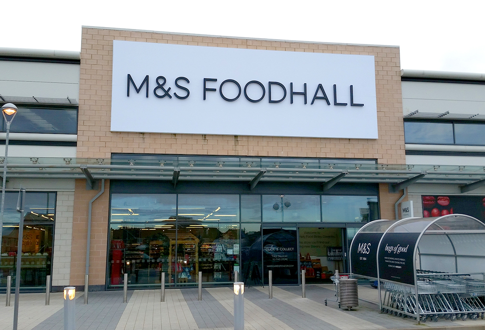 M&S Foodhall branding. Coventry, England