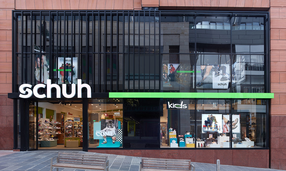 New schuh brandmark in Glasgow, elements are face illuminated