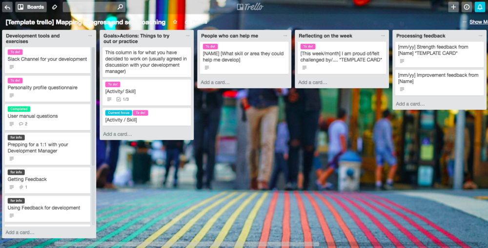 Template Trello for mapping your progress, tracking feedback and shaping your development