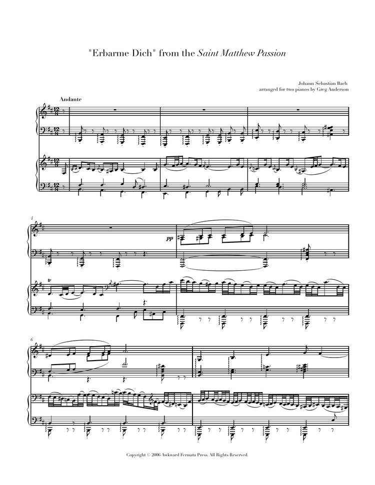 Bach: St. Matthew Passion — Anderson & Roe Piano Duo