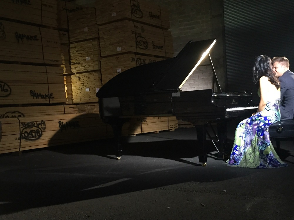 Waiting between takes ...behind-the-scenes at the Steinway Factory in Astoria, NY