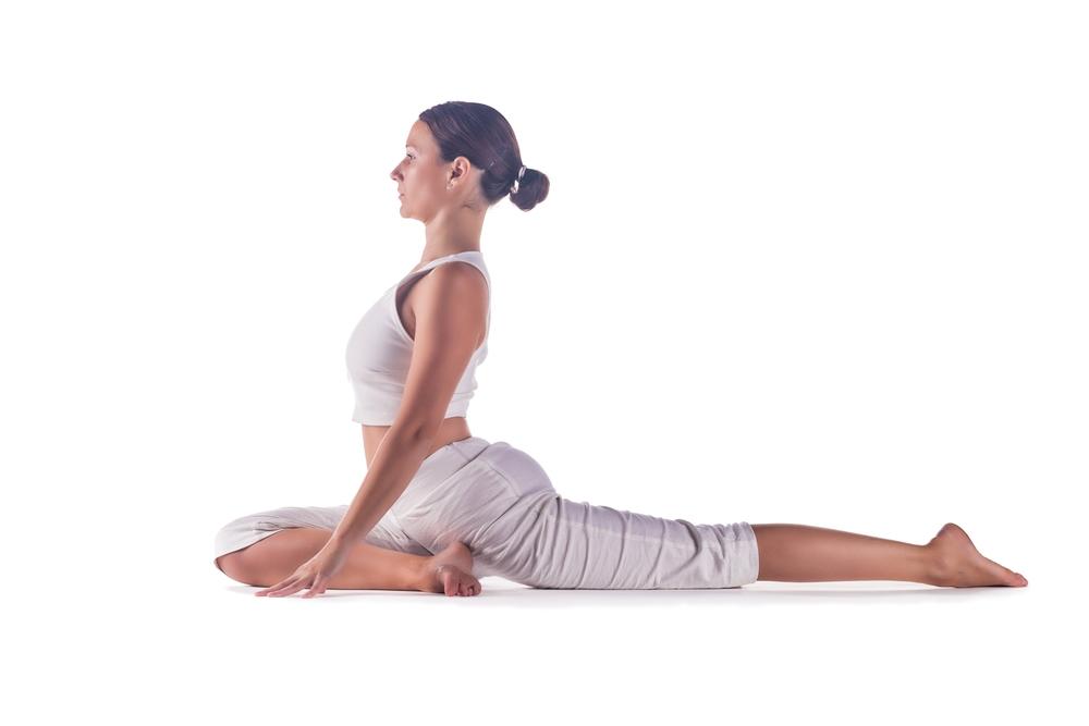 Postura de yoga la paloma