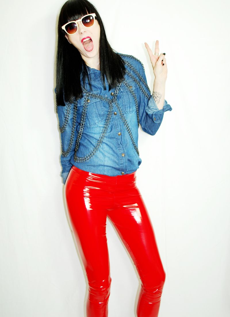A 2010 me in red PVC, denim and my Fannie Schiavoni chainmail top