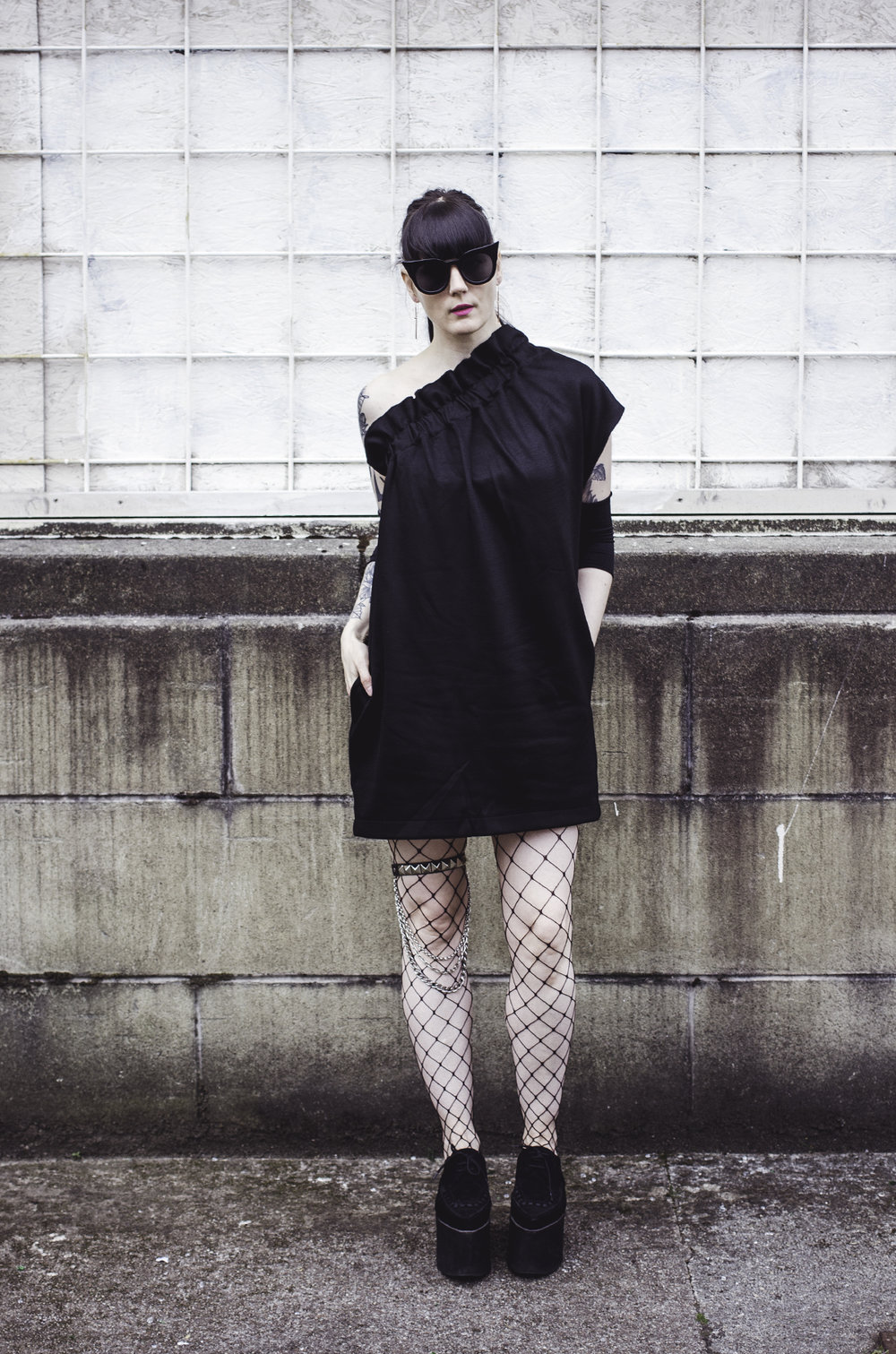 The Details -      COS dress // Underground England shoes // ASOS tights // Le Specs sunglasses // DIY Armbands // DIY Leg chain
