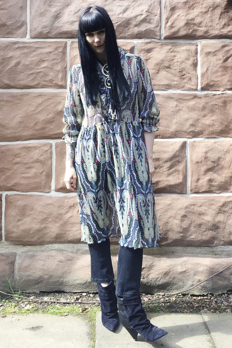 Vintage dress // Whistles jeans // Isabel Marant boots