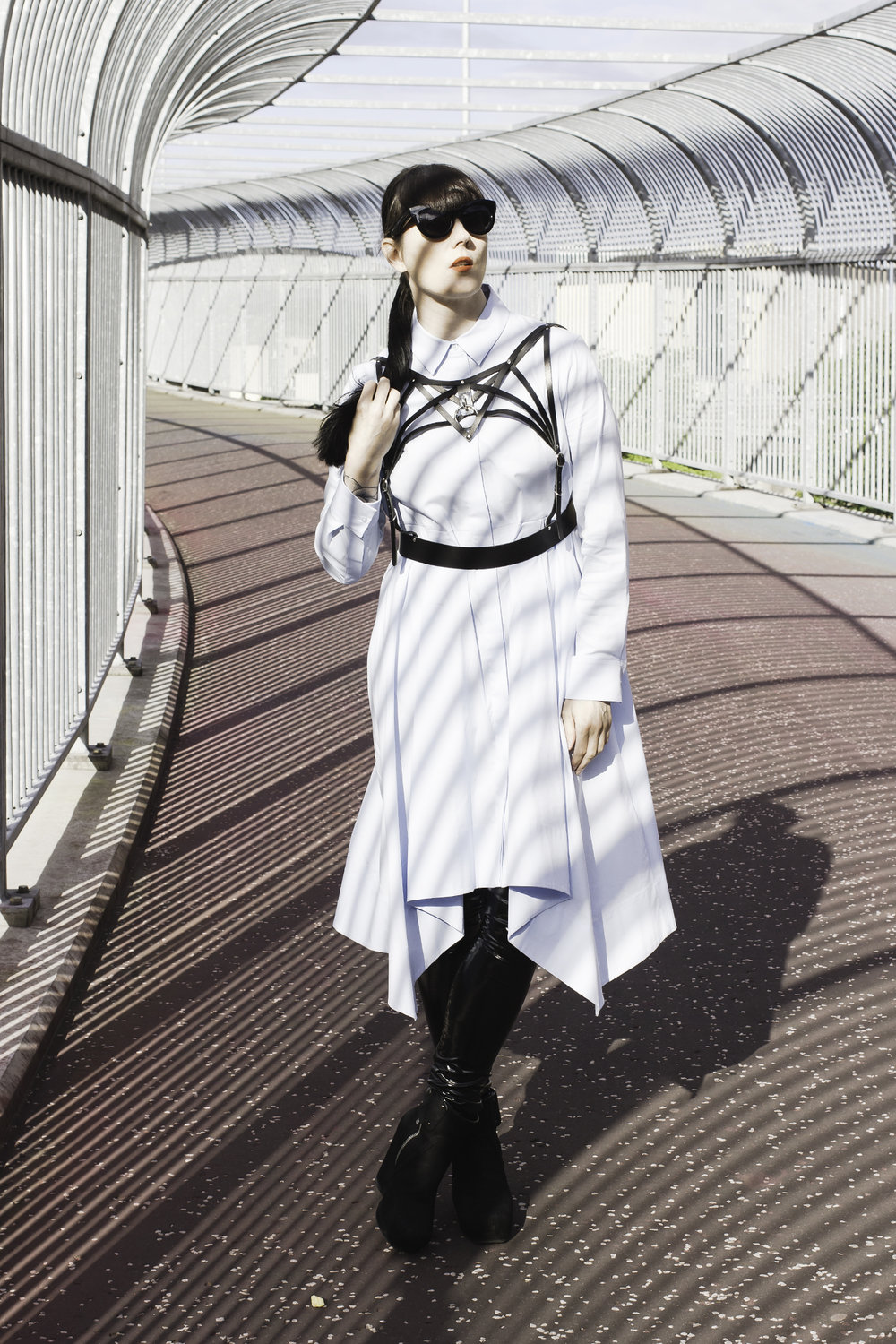 The Details - COS shirt dress / rhea LEATHERCRAFTS harness / les chiffoniers leggings / rick owens boots / cheap monday sunglasses