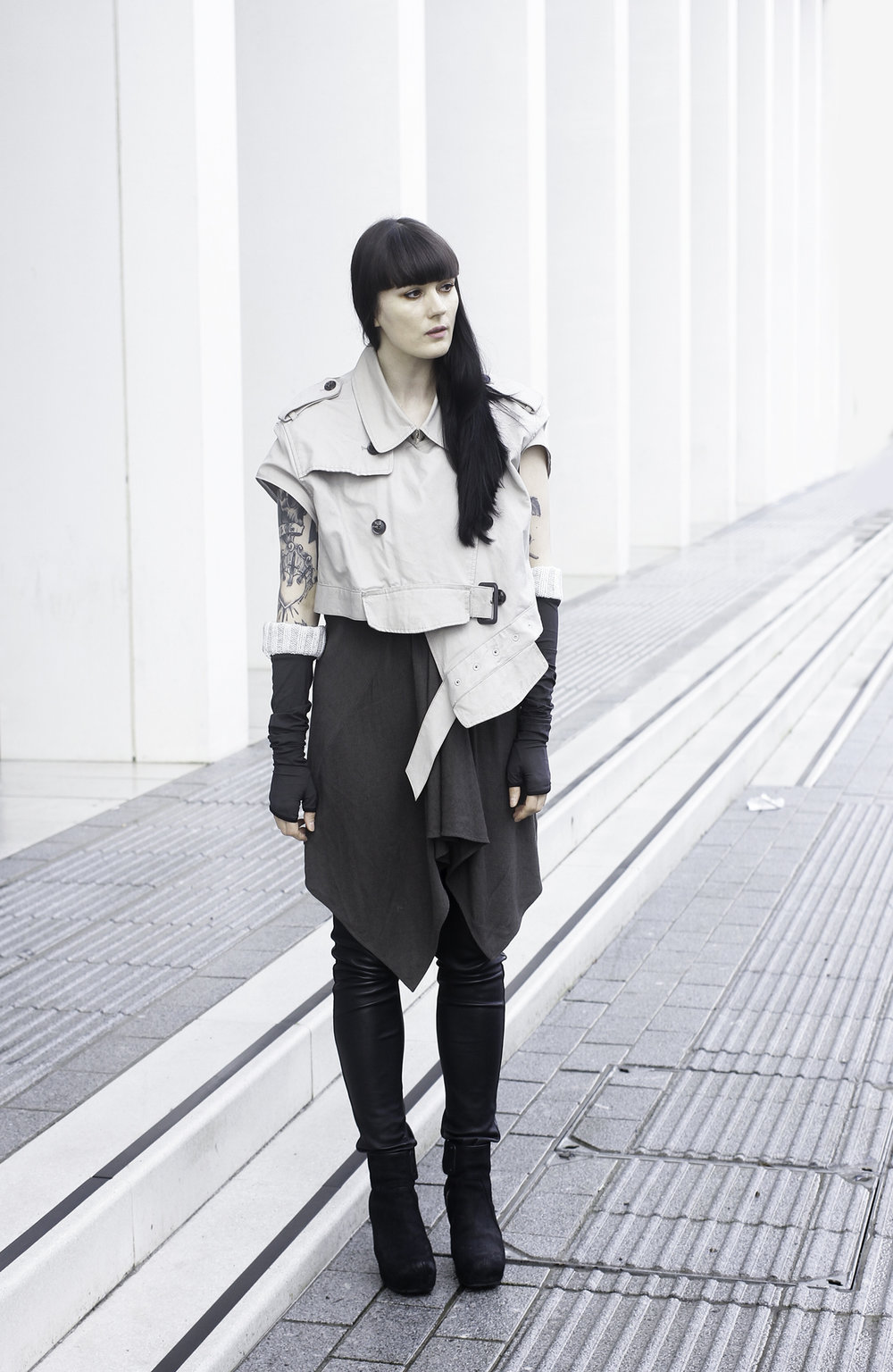 The Details - DIY Jacket / Rick Owens dress / H&M Leather trousers / Rick Owens boots / Gloved Up gloves