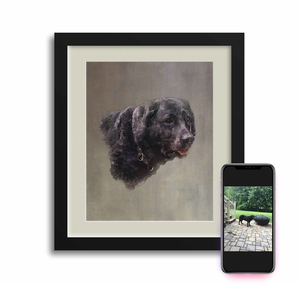 One of the family's beloved Chesapeake Retrievers passed. The family had an iPhone photo they loved, but wanted a more permanent keepsake to hang on the wall.