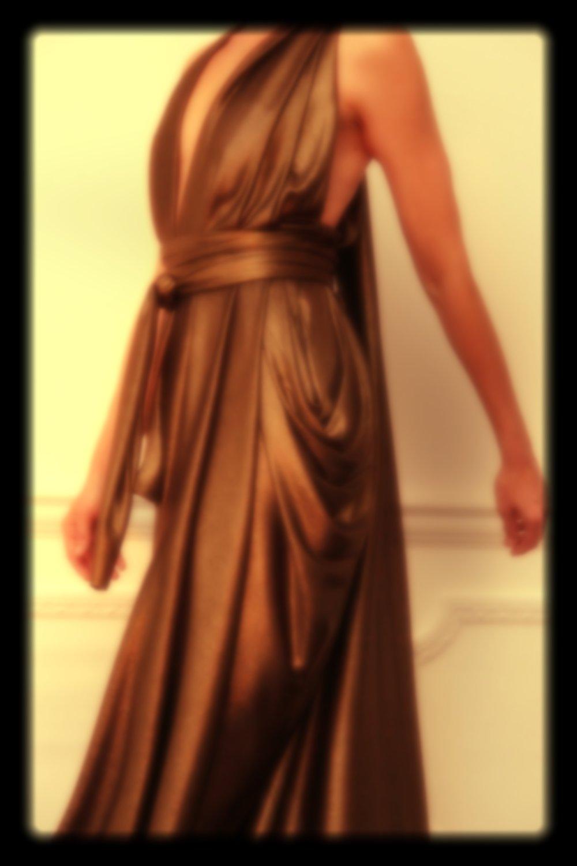 E P O K- BURNISHED GOLD- DRAPED FORMAL DRESS-LONG TAIL BACK-LONDON