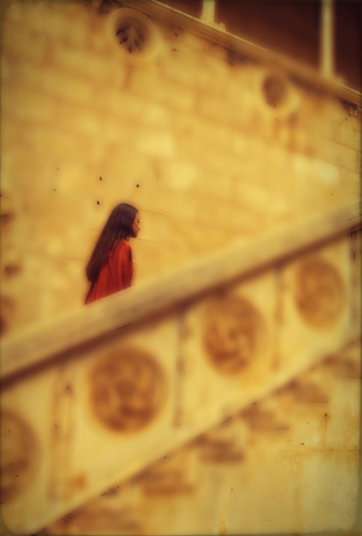 E P O K-SILK-DRAPE BACK-KIMONO-WRAP DRESS-WARM RED-ROME