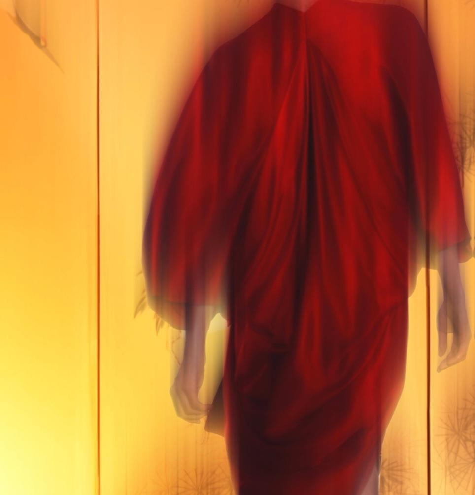 EPOK-RED SILK-KIMONO WRAP DRESS - DRAPED ABAYA BACK - JAPAN