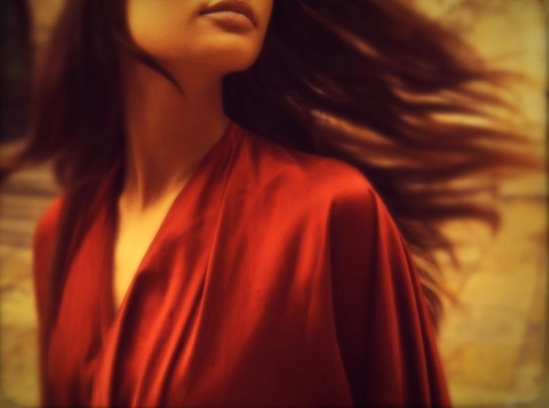 E P O K-SILK-DRAPE BACK-KIMONO-WRAP DRESS-WARM RED-SPAIN