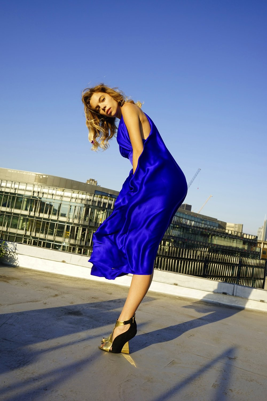 E P O K  | SAPPHIRE BLUE | SILK GODDESS DRESS