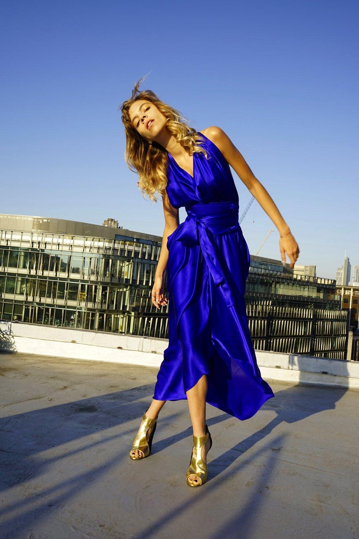E P O K | SAPPHIRE BLUE | DRAPED SILK GODDESS DRESS