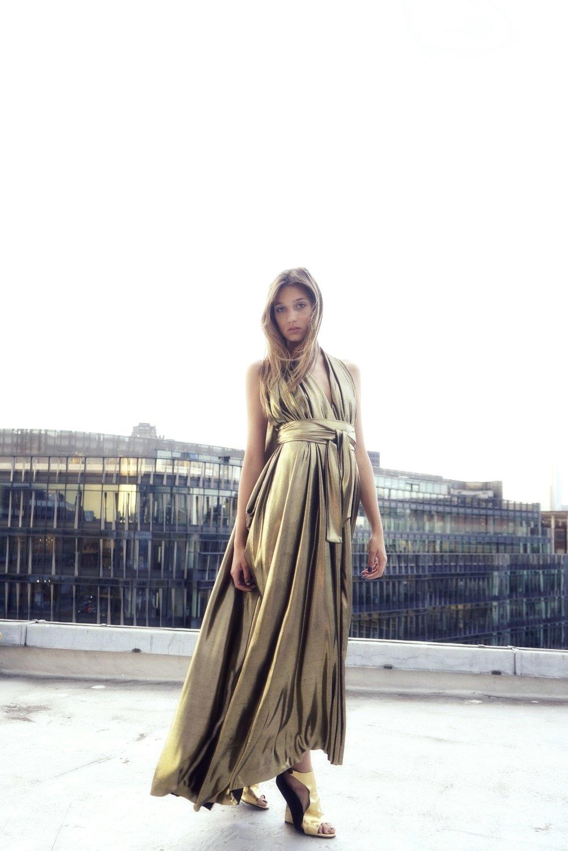 E P O K Liquid Gold Draped Goddess Gown