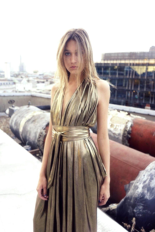 E P O K | Liquid Metallic Gold | Draped Halter Goddess Dress