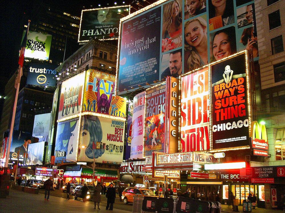 Photo of Broadway Billboards credit to  Matthew Mendoza