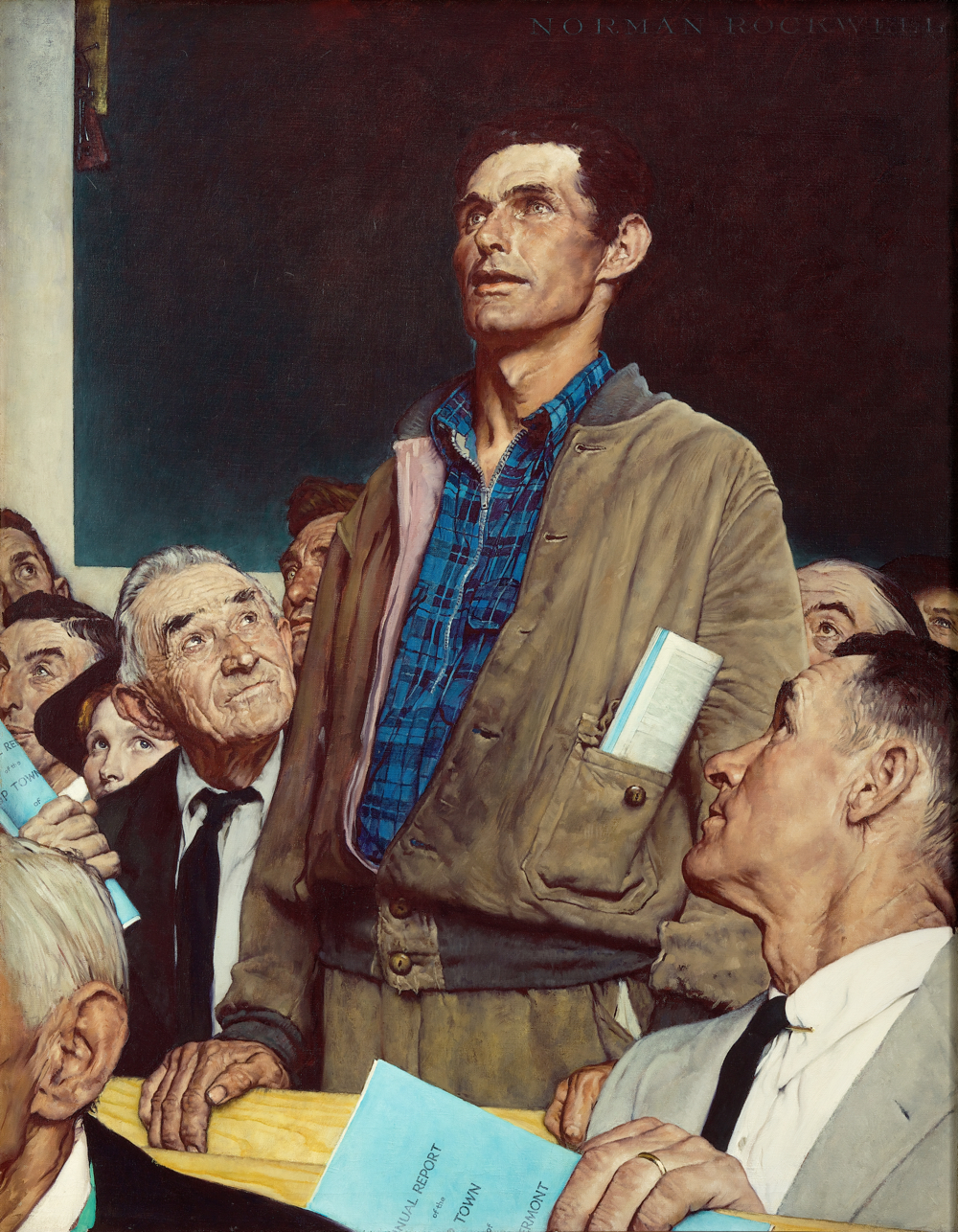 Norman Rockwell (1894-1978), Freedom of Speech, 1943. Story illustration for The Saturday Evening Post, February 20, 1943. Collection of Norman Rockwell Museum. (c)SEPS: Curtis Licensing, Indianapolis, IN. All rights reserved. www.curtislicensing.com