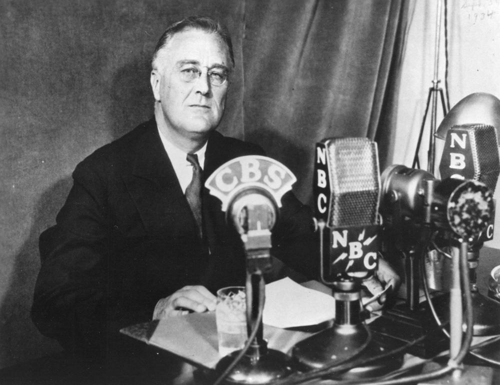 Unknown Photographer, President Franklin D. Roosevelt delivering Fireside Chat #6, September 30, 1934. Franklin D. Roosevelt Library & Museum, NY