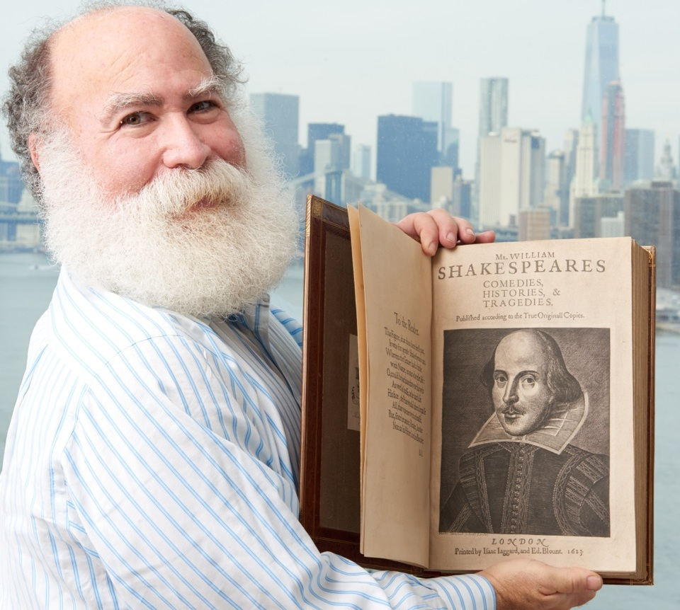 Antiquarian book dealer Stephan Loewentheil holds a copy of Shakespeare's Second Folio. Photo Credit: Stephan Loewentheil