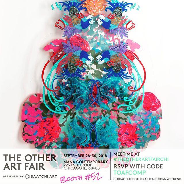 Join me at Saatchi's The Other Art Fair in Chicago..#theotherartfairchi #mirroredart #plexiglassart #contemoraryart #baroqueinspired #agressivelybeautiful