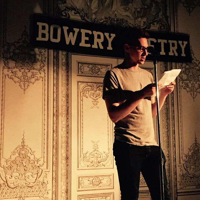 My sweetheart @dfurcall giving his first featured reading at the Bowery for #Prelude